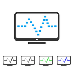 Monitor dotted pulse flat icon vector