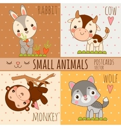 Monkey rabbit wolf and cow set cartoon images vector