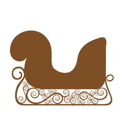 Monochrome silhouette of sleigh of santa claus vector