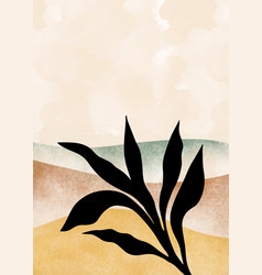 Mountain and botanical wall art abstract leaves vector