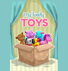 my first toy funny textile animal toys in box vector image