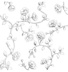 ornate black and white flowers on a white vector image
