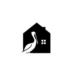 Pelican house bird logo icon vector