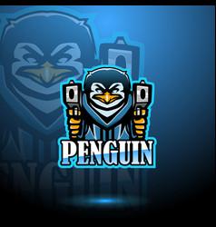 penguin esport mascot logo design with gun vector image