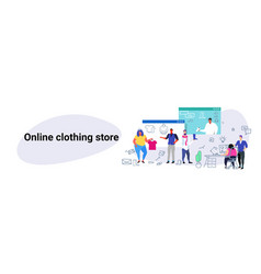 people doing online shopping fashion men women vector image