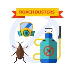 Pest control worker spraying pesticides home vector