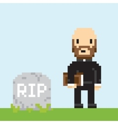 Pixel art game style priest on a funeral vector
