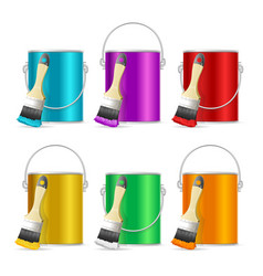 realistic color steel can bucket and paint brush vector image