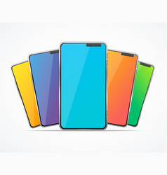 realistic detailed 3d color mobile phone set vector image