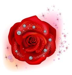 Red macro rose with diamonds vector