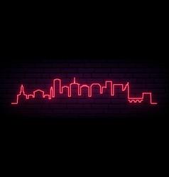 Red neon skyline richmond bright richmond city vector