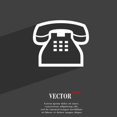 Retro telephone handset icon symbol Flat modern vector