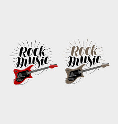 Rock music lettering guitar musical string vector