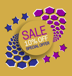Sale 10 off special offer banner text in round vector