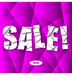 Sale Cut Paper Poster on purple Background vector
