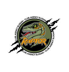 Scary raptor in center with open mouth team vector