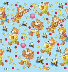 seamless pattern childrens ornament funny bears vector image