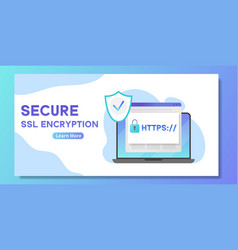 Secure ssl encription banner laptop with opened vector