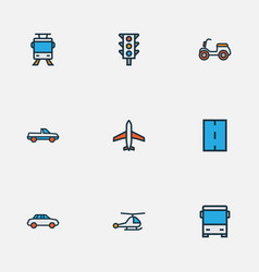 Shipment icons colored line set with bus vector