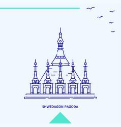 Shwedagon pagoda skyline vector
