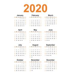 Simple calendar 2020 year vector