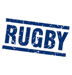 square grunge blue rugby stamp vector image