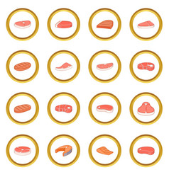 Steak icons circle vector