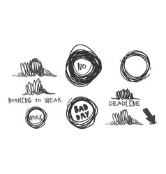 stress badges in grunge ink style set vector image