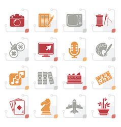 Stylized hobbies and leisure icons vector