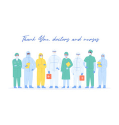 team professional medical staff in safety vector image