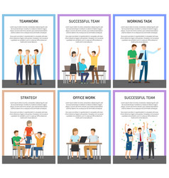 teamwork and strategy set vector image