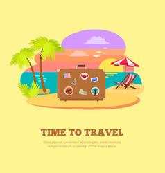 time to travel promotional poster with suitcase vector image