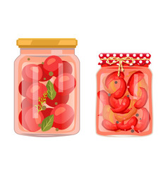 tomato and chili pepper pickled salty food set vector image
