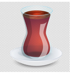 Transparent cup of tea with a saucer isolated on vector