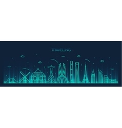 Traveling background skyline detailed silhouette vector image