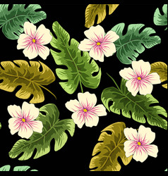 tropical leaves and flowers in the night style vector image