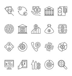 usd linear icons set money and dollar vector image