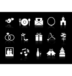 Wedding icons on a black background vector