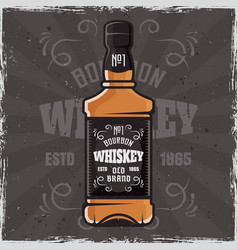 Whiskey bottle banner colored vector