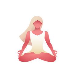 Woman yoga lotus position or asana female figure vector