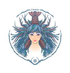 zodiac sign portrait a woman cancer vector image