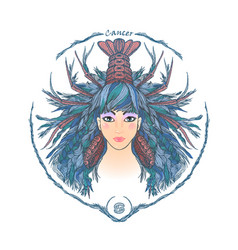 zodiac sign portrait of a woman cancer vector image