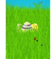 Easter spring background with decorated eggs vector image