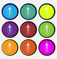 Jump rope icon sign nine multi colored round vector