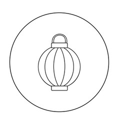 korean lantern icon in outline style isolated on vector image vector image
