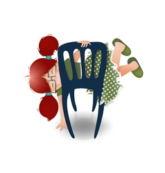 Little Girl Wearing Glasses Playing on a Chair vector image vector image