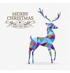 Merry christmas reindeer triangle hipster origami vector image vector image