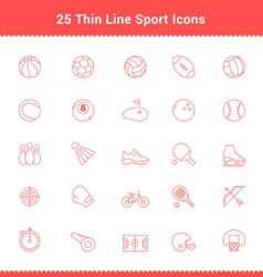 Set of Thin Line Stroke Sport Icons vector image