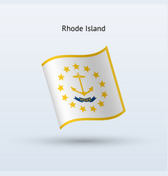 State of rhode island flag waving form vector