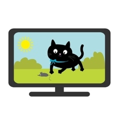 Tv set show black cat with mouse funny animal vector